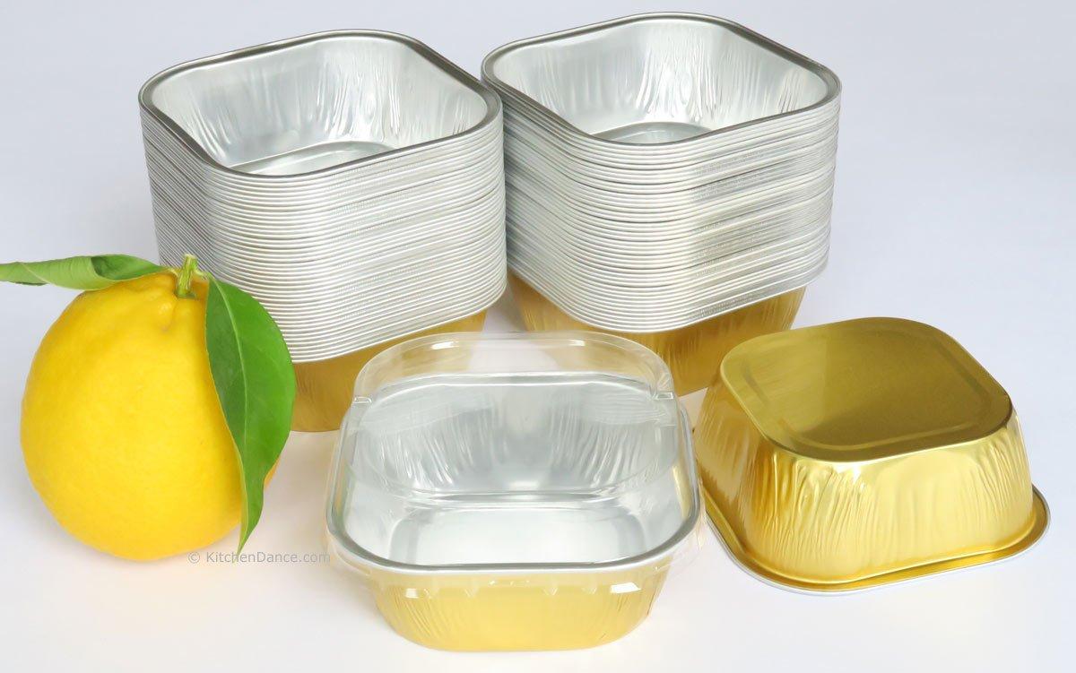 KitchenDance Disposable Aluminum 4'' x 4'' Square 8 ounce Dessert Pans W/ Lids - #ALU6P (GOLD, 500) by KitchenDance (Image #2)