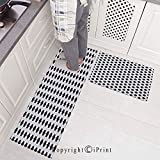 Kitchen Mats Non Slip Washable Doormat Water Absorbent Anti-Slip Mat,Abstract Football Ball Pattern
