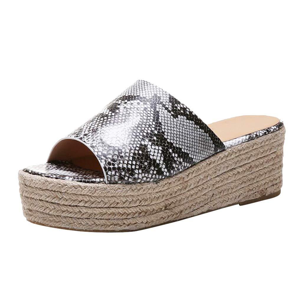 Shusuen Flat Casual Heels Pumps Peep Toe Sandals Gray