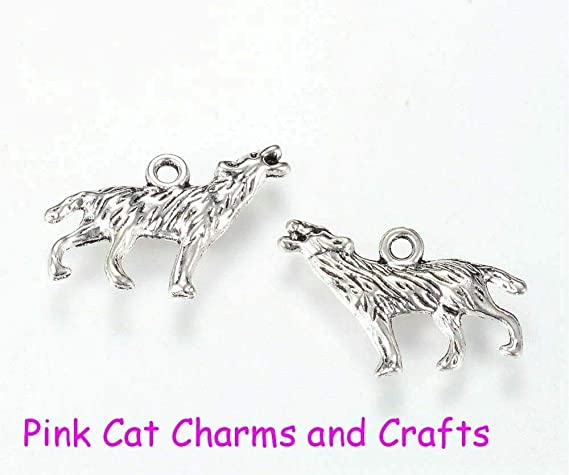 10 x Tibetan Silver HOWLING WOLF WOLVES HARRY POTTER 3D Charms Pendants Beads