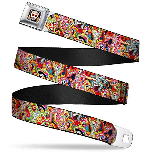 Buckles Belt Skull Accessories (Buckle-Down Seatbelt Belt - Dancing Catrinas Collage Multi Color - 1.5