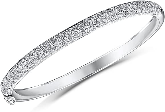 Ladies Girls Silver Bangle Bracelet 925 Silver with Cubic Zirconia Pave Setting