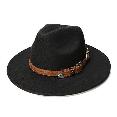 eee992d57a7619 Retro Women Men Vintage 100% Wool Wide Brim Cap Fedora Panama Jazz ...