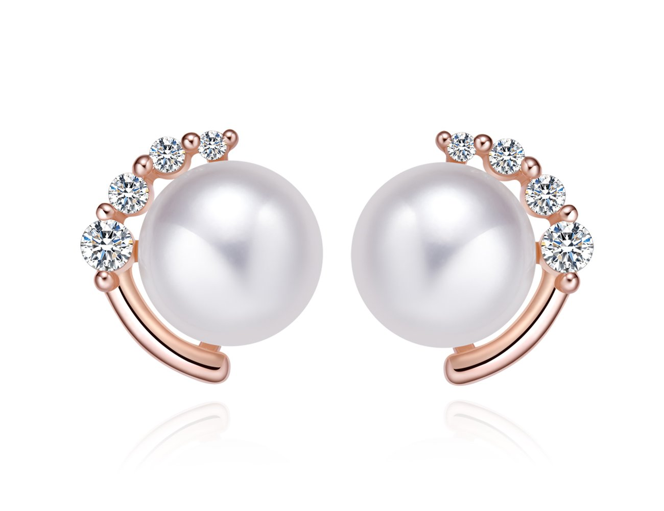 """Moon & Star"" Sterling Silver Stud Earrings with Crystal Zircon and 8mm Freshwater Pearl KEETEEN"