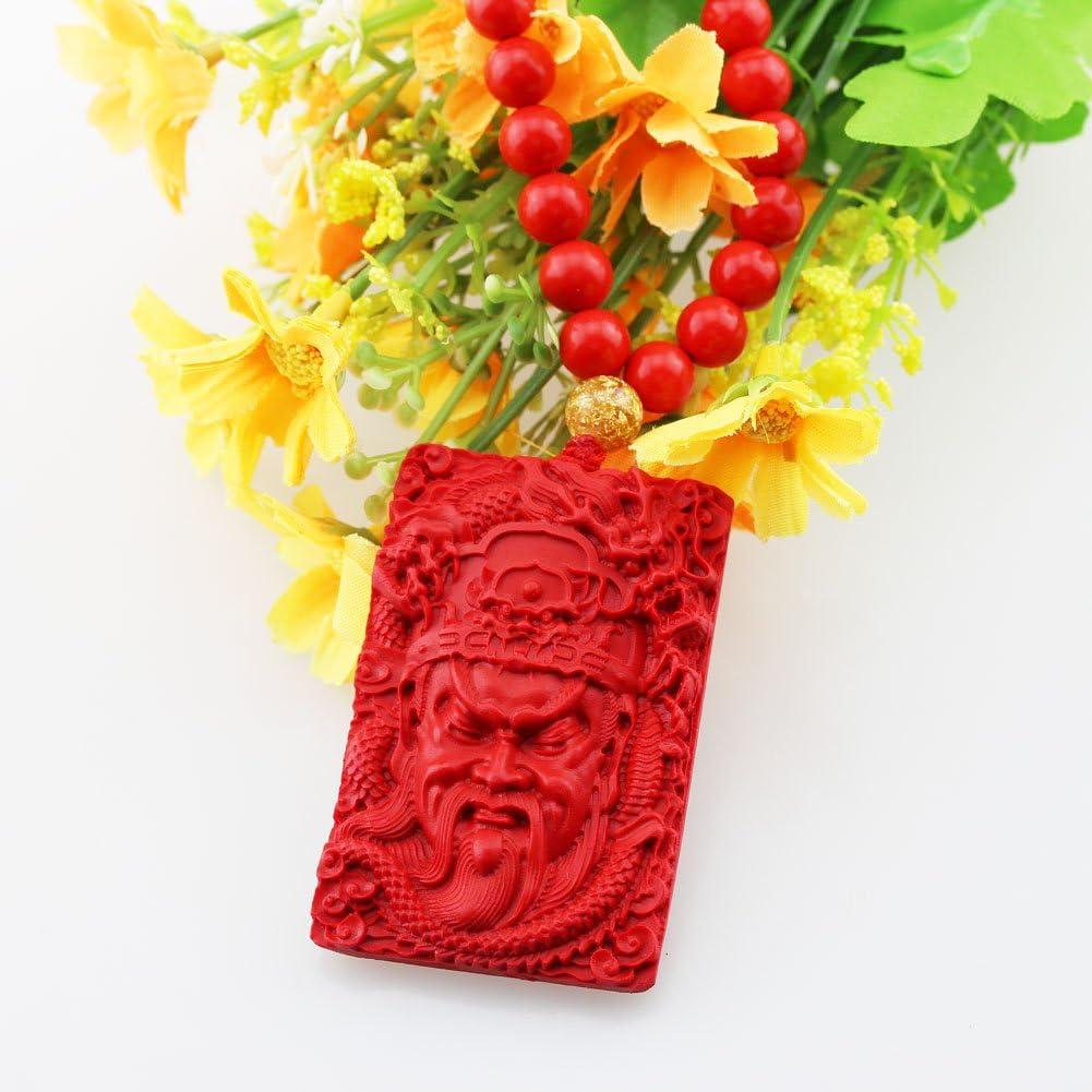 FOY-MALL Natural Cinnabar Guan Gong Pendant Beaded Necklace XL1354M