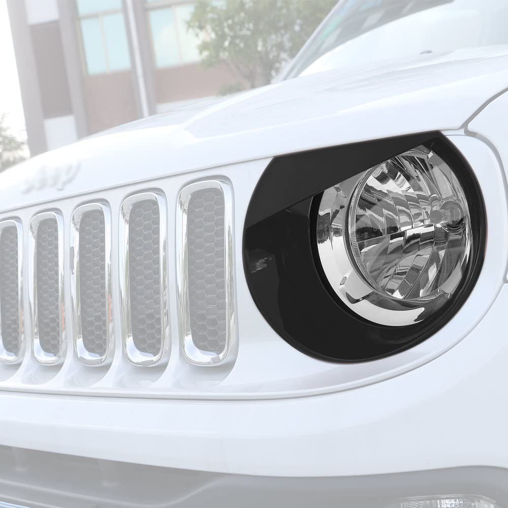 RT-TCZ Front Light Cover Angry Bird Headlight Bezels Cover ABS Trim For 2015 2016 2017 Jeep Renegade-2PCS Light Green