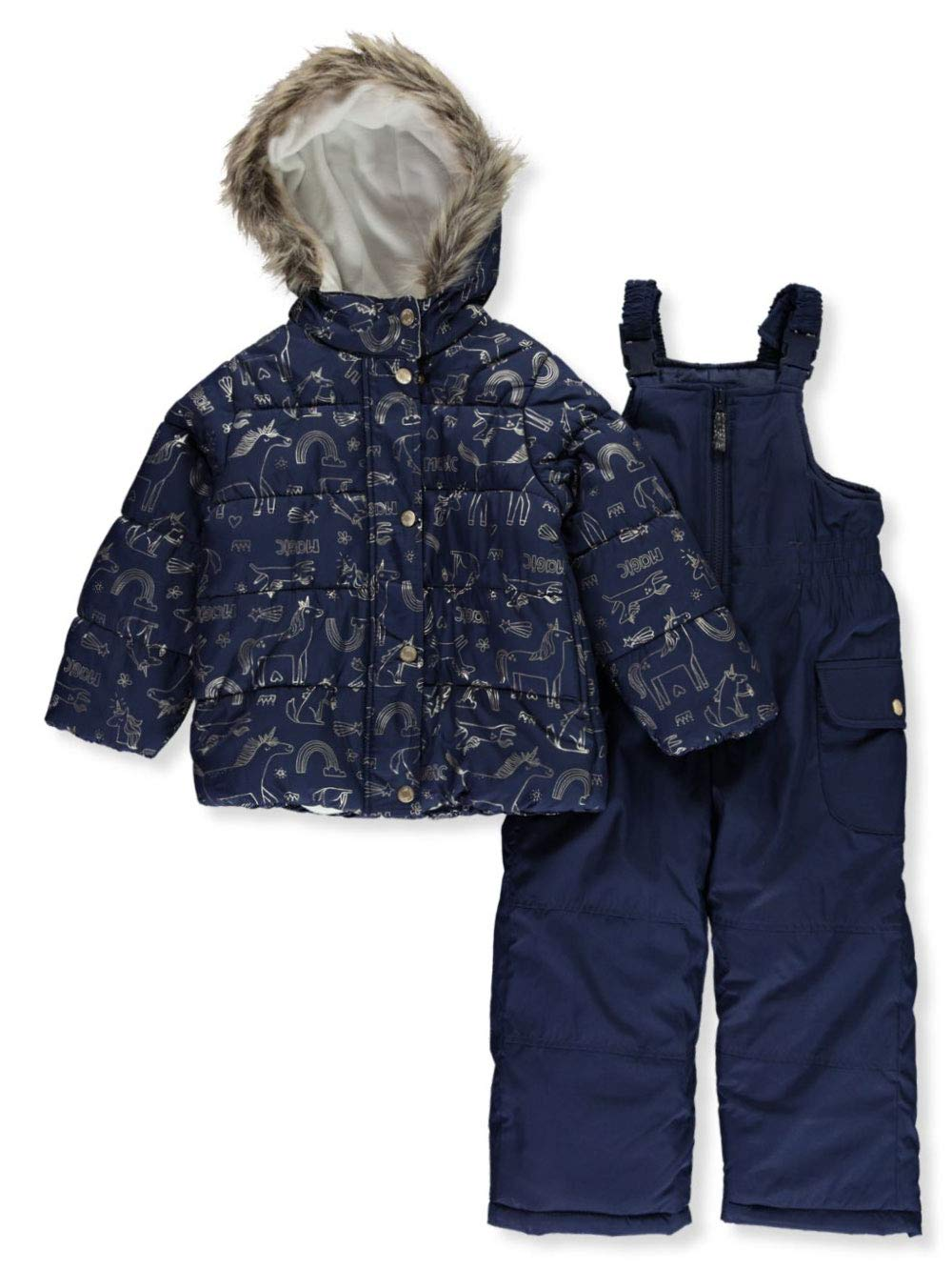 Carter's Girls' Little Heavyweight 2-Piece Skisuit Snowsuit, Navy Unicorn Print, 5/6 by Carter's
