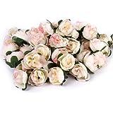 50pz 3 Centimetri Artificiale Rose Di Seta Capolini Nozze Decorazione Rosa Chiaro