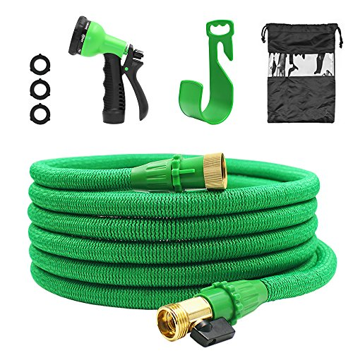 HIPPIH 50 Feet Garden Hose Expandable High Pressure with 3/4 Solid Brass Connectors and 8 Pattern Spray Nozzle
