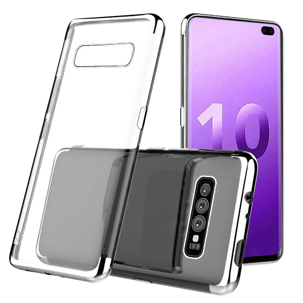 Waterproof-Case-with-Built- Screen-Protector,For Samsung-S10-Plus 6.3inch-Clear-Case-Protective TPU Gel Cover (Silver)