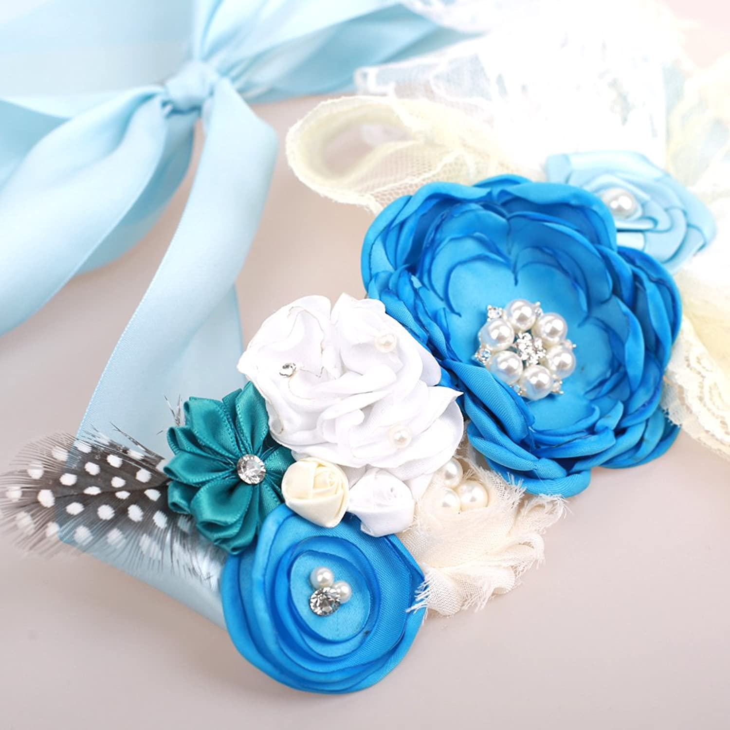 Amazon.com: Maternity Sash Flower Belt Baby Shower Dress Accessories ...