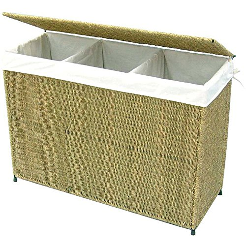 America Basket - Woven Seagrass Full-load Home Laundry Hamper with Three Compartment and White Liner