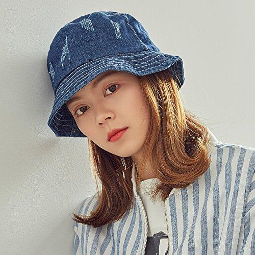 Deep bluee Women's Adjustable Beach Floppy Sun Hat