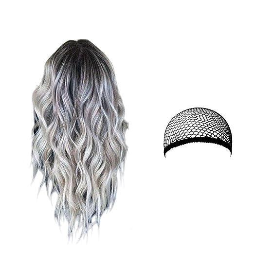 Perruques Cosplay pour Femmes Longue Raides Synthétique Bleu Cheveux pour Halloween,Concerts,Mariages,Datant,Soirées à Thème, Noël