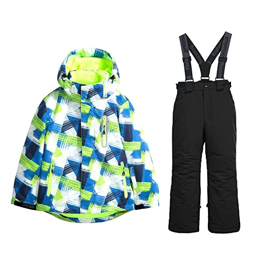 d4b301973019 Amazon.com  YEEFINE SNOWING Boys 2-Piece Ski Suit Waterproof ...