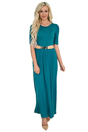 40f866e5d6ea Jen Clothing Half-Sleeve Modest Maxi Dress at Amazon Women's Clothing store: