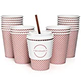 Set of 50 12oz Paper Coffee Cups, Lids, Sleeves, and Stirrers | Perfect for a Party or the Office | Drink your Coffee or Tea on the Go and in Style! | Red Check Design