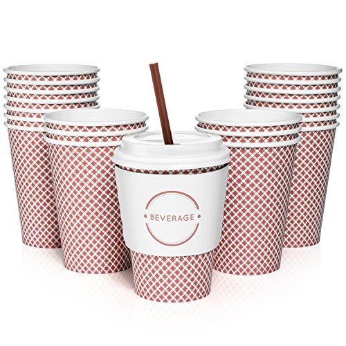 Paper Coffee Cups with Lids, Sleeves, and Stirrers | Set of 50 | 12oz Disposable Cups | Perfect for a Party or the Office | Drink your Coffee or Tea on the Go and in Style! | Red Check Design (Jumbo White Coffee Cups)