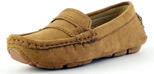 Mocasines para Hombre Chicos Niños Zapatos de Cuero Gamuza Ponerse Moda Loafers Casual Comodidad Zapatos para Caminar Plano Tacón: Amazon.es: Zapatos y ...