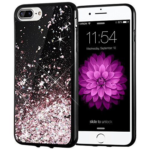Caka iPhone 7 Plus Case, iPhone 8 Plus Case [Starry Night Series] Bling Flowing Floating Luxury Liquid Sparkle TPU Bumper Glitter Case for iPhone 6 Plus/6S Plus/7 Plus/8 Plus (5.5 inch) - (Rosegold)