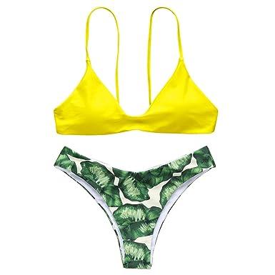 aa62b28f ZAFUL Women Push Up Bikini Set Bright Color Swimwear Neoprene Swimsuit  Neoprene(Gelb S)