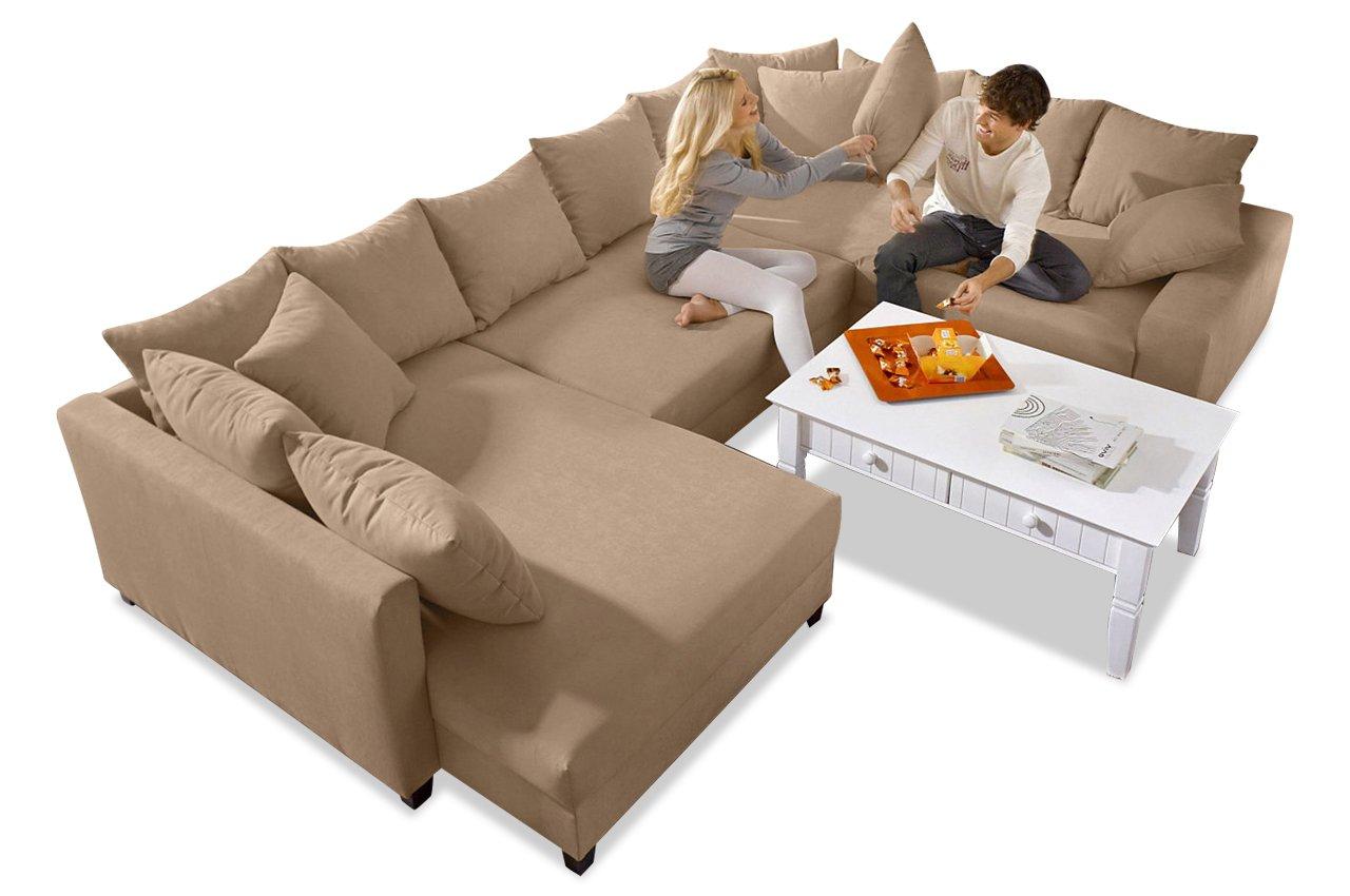 Sofa Wohnlandschaft Tango Mit Bett Luxus Microfaser Cappuccino Kaufen