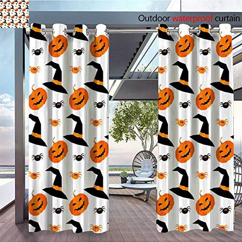BlountDecor Fashions Drape Happy Halloween Seamless Pattern Background 2 Outdoor Curtain Waterproof Rustproof Grommet Drape W72 x -