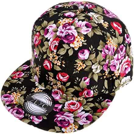4b813183c02 ZLYC Women Fashion Floral Print Adjustable Casual Snapback Baseball Cap Hat