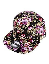 ZLYC Unisex Foral Snapback Hat Adjustable Flat Bill Baseball Cap