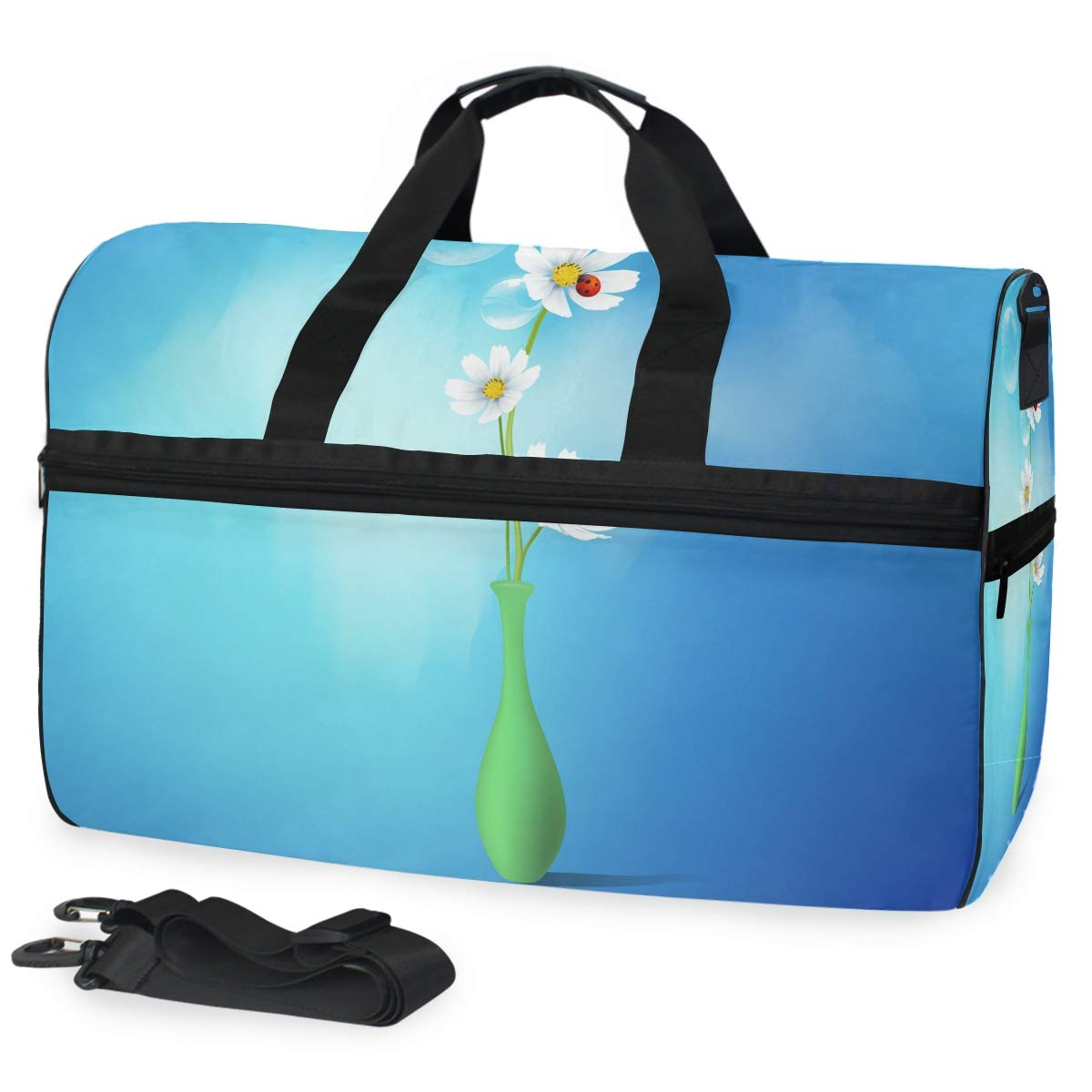 Art Daisy Flowers Sports Swim Gym Bag with Shoes Compartment Weekender Crossbody Duffel Bags Handbag for Travel Women Girls Men
