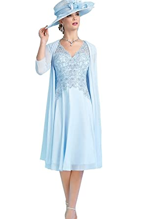 Blue Chiffon Mother of the Bride Dresses
