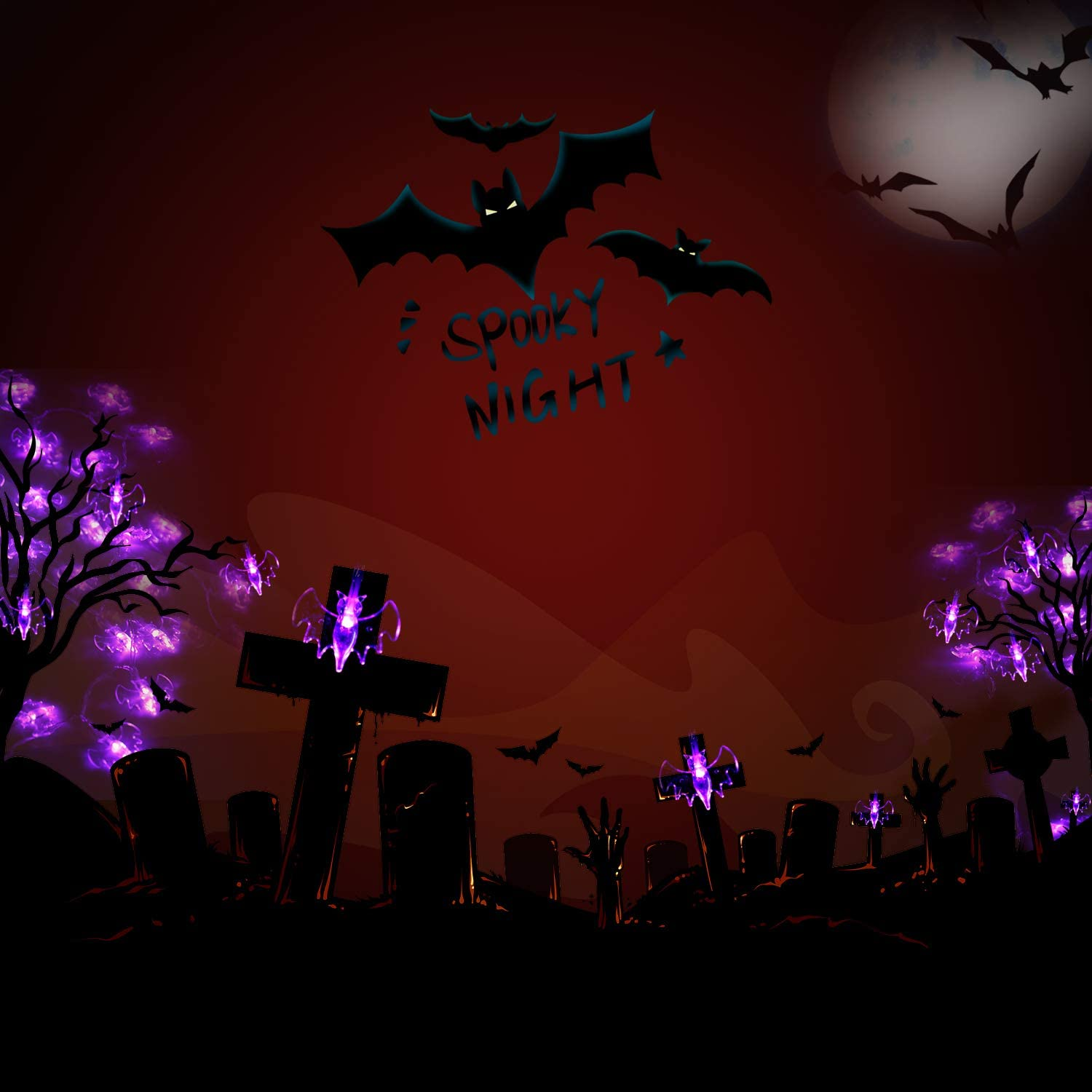 Transparent Bat Festival 30 LED Lights for Indoor and Outdoor Party Orange Jack-O-Lantern Warm Light Pumpkins and Purple Bats Halloween Decoration Lights String with Battery Operated