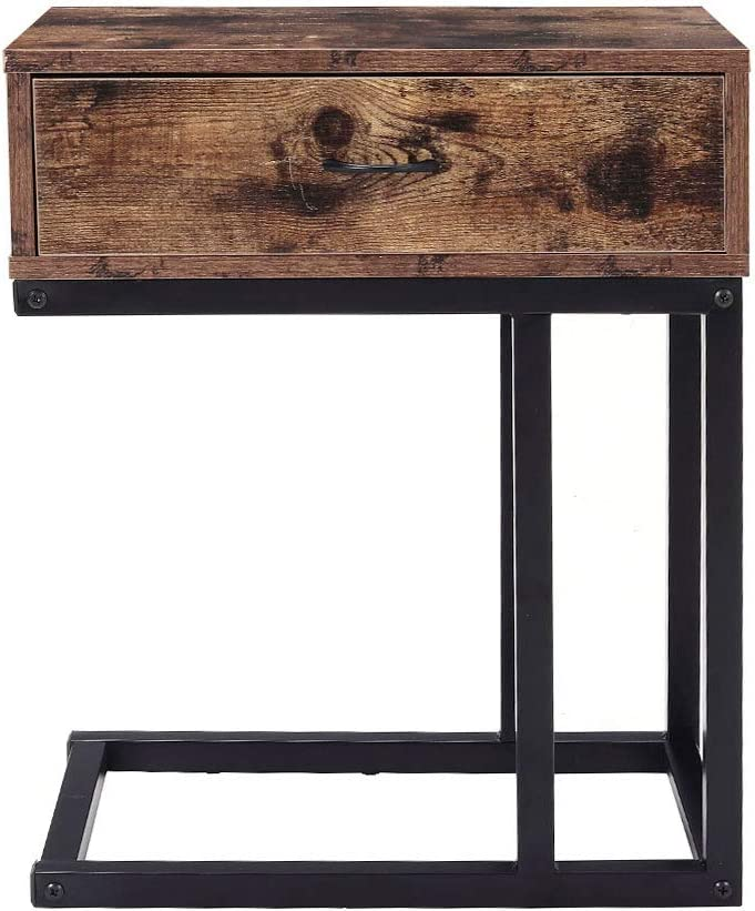 Brown Drawer Side Table Sofa Bedside Table With Storage Industrial Style Vintage End Table For Living Room Bedroom