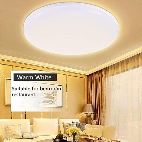 Luz de techo LED 3000K blanco cálido, 24W lámpara de techo redonda, 1200LM ultrafina iluminada para garajes de la sala de estar Oficina de la cocina ...