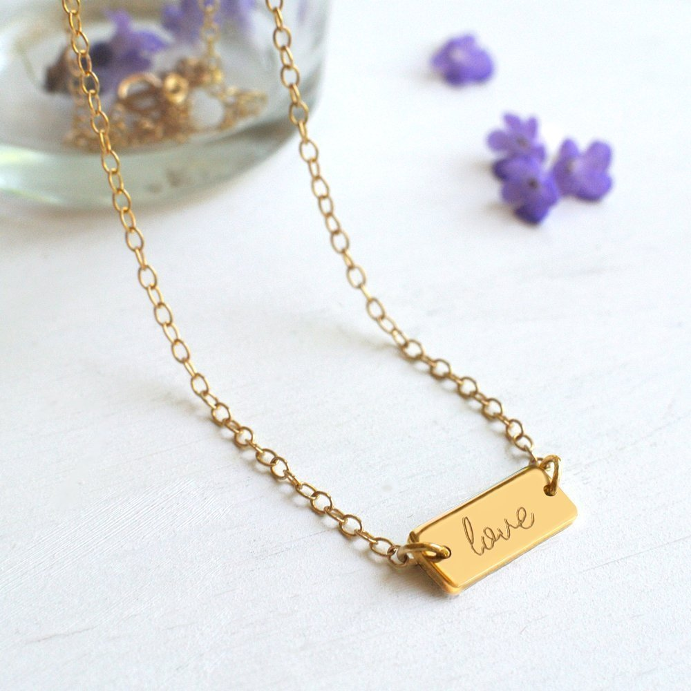 Personalised Gold Mini Bar 'love' Necklace