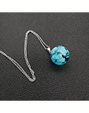 Stainless Steel White Clouds Blue Sky Resin Ball Pendant Necklace 50cm