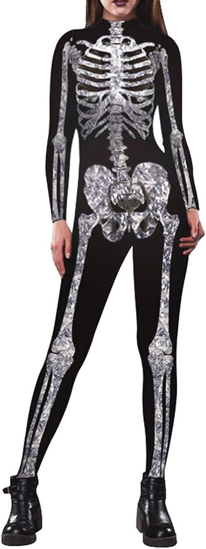 Selowin Womens Halloween Costume Skeleton Print Bodysuit Skinny Catsuit Jumpsuit