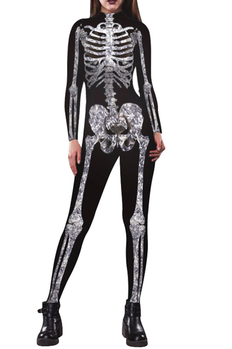 Pink Queen Womens Halloween Cosplay Skull Skeleton Print Costume One-Piece Catsuit Bodysuit PJP2101