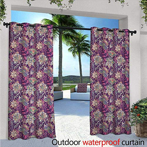 Floral Exterior/Outside Curtains Vibrant Flowers with Mehndi Style Romantic Asian Ornamental Petals Paisley Design for Patio Light Block Heat Out Water Proof Drape W120 x L96 Mauve Green -
