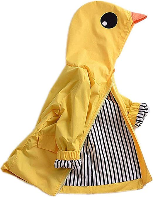 Baby Boys Girls Cartoon Duck Raincoat Cute Hoodie Zipper Coat Jacket Outerwear 1-5T