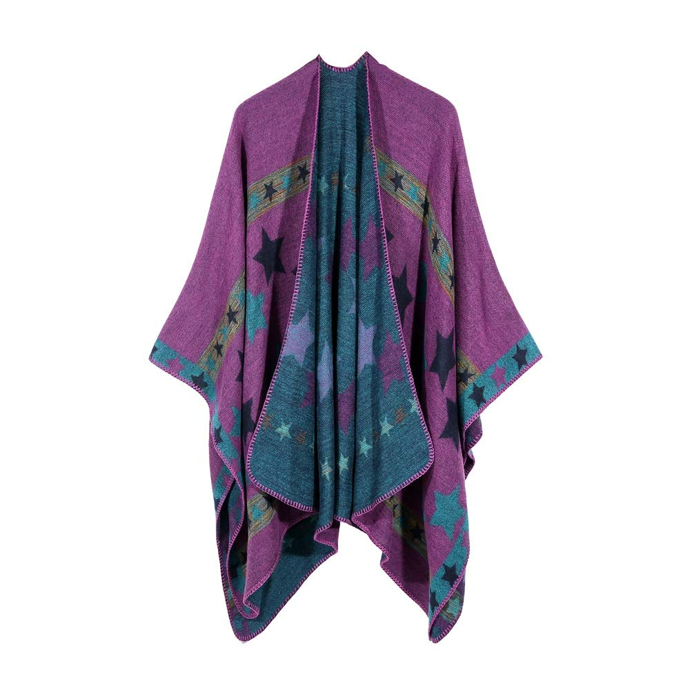 Excellent Women's Fall Winter Scarf Cloak Tassel Cape Mantle Scarf Ardent Diffuse Kerchief Wrap Shawl Scarves (Color : Purple, Size : 51.1 x 59.06 Inch')