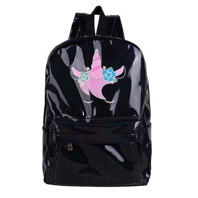 dPois Mochilas Escolares Niña Unicornio Mochila Escolar Cuero PU Brillante Bolsa de Hombro Viaje Grande Mochila