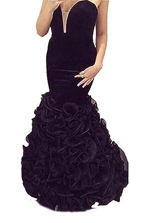 Junior Mermaid Deep V Velvet Long Ruffles Prom Dress Evening Gown Black US2 f906c4af5