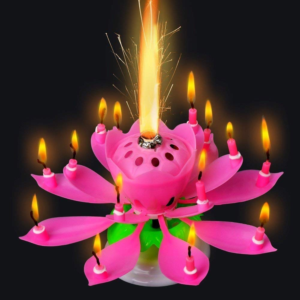 Moxing Music Romantic Birthday Candle Two Layers with 14 Small Candles Musical Lotus Rotating Happy Birthday Flower Candle Birthday Candles (Blue)