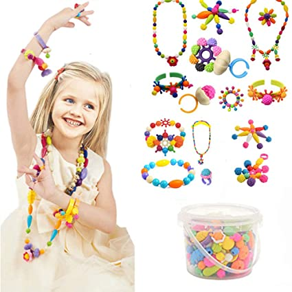 fd667ebf9 Edycur Arty Snap Pop Beads Set with Storage Bucket, Arts and Crafts Toys  Gifts for