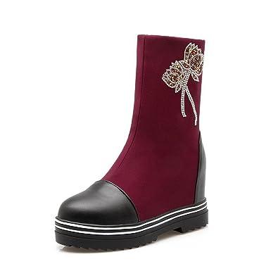 VogueZone009 Damen Blend-Materialien Rund Zehe Hoher Absatz Rein Ziehen auf Stiefel, Schwarz, 36
