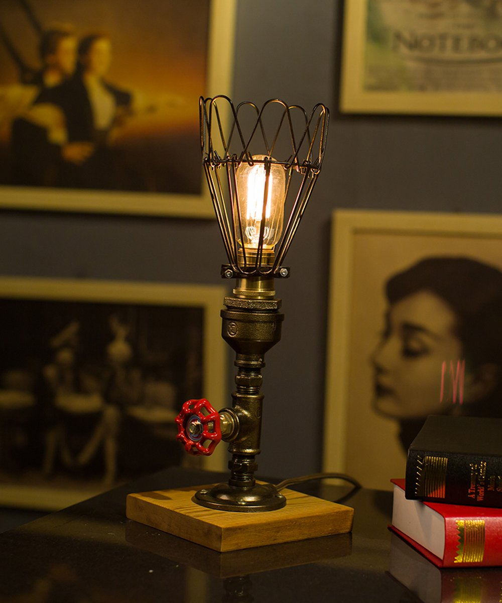 TOFAR Retro Steampunk Table Lamp Industrial Pipe Modern Antique Table Light Bulbs Edison Fixture With Dimmer
