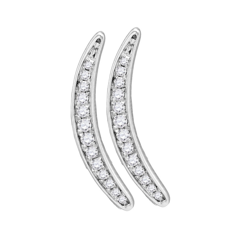 Sterling Silver Womens Round Paveset Diamond Climber Earrings 1 5 Cttw