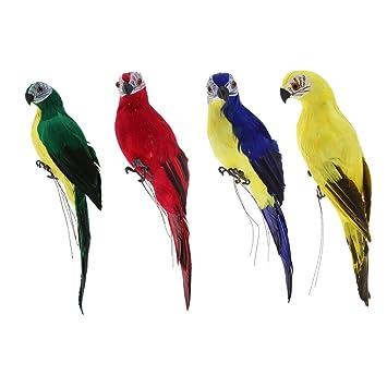 Künstliche Papagei Gartenfigur Wellensittich Vogel Zaun Baum Balkon Garten Deko