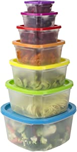 Home Basics 7 Pack Plastic Food Storage Container Set with Multi-Colored Lids, Leftover Food Containers - Airtight Leak Proof, Meal Prep Containers